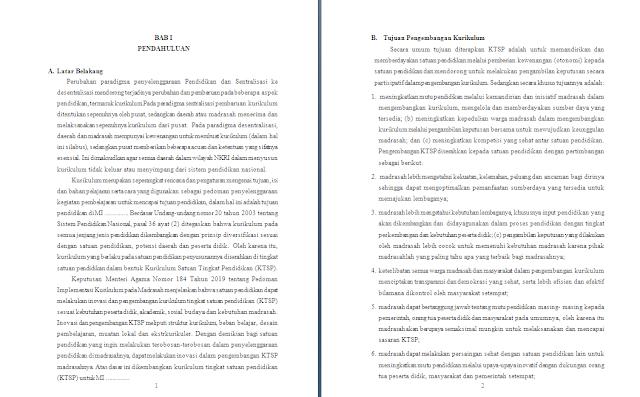 Contoh Dokumen KTSP Madrasah Tahun 2020/2021 tingkat MI