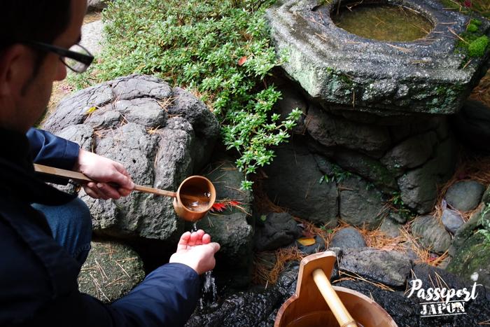 Fontaine de purification, jardin Gyokusen-en, Kanazawa