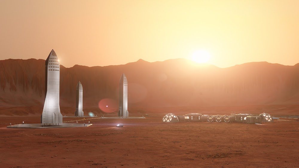 SpaceX Starships at Mars Base Alpha by Konstantin Ermolaev