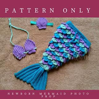 Newborn Mermaid Photo Prop Crochet Baby Outfit Pattern
