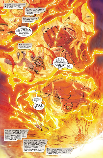 Thor on fire of Yggdrasil (The World Tree), from War of the Realms Issue #6.