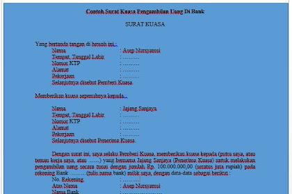 Download Contoh Surat Kuasa Pengambilan atau Pencairan Uang Di Bank