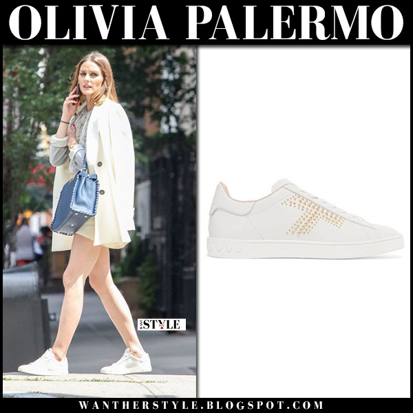Olivia Palermo in white blazer, white shorts and white sneakers tod's cassetta summer street style july 28