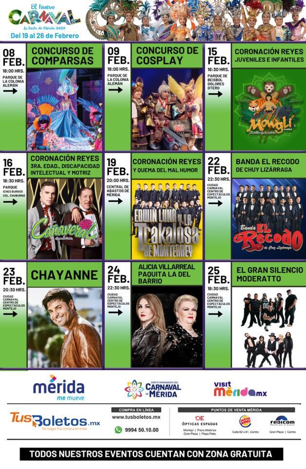 programa y eventos del Carnaval de Merida 2020