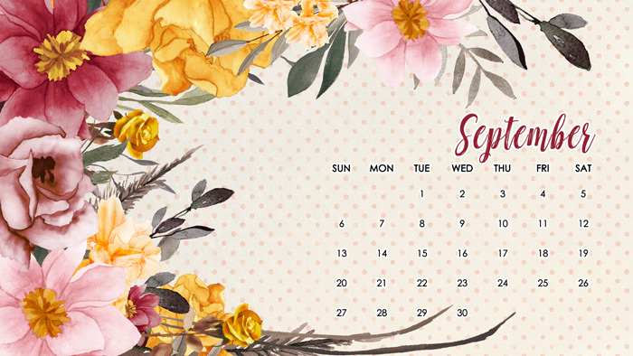 September Calendar for Computers