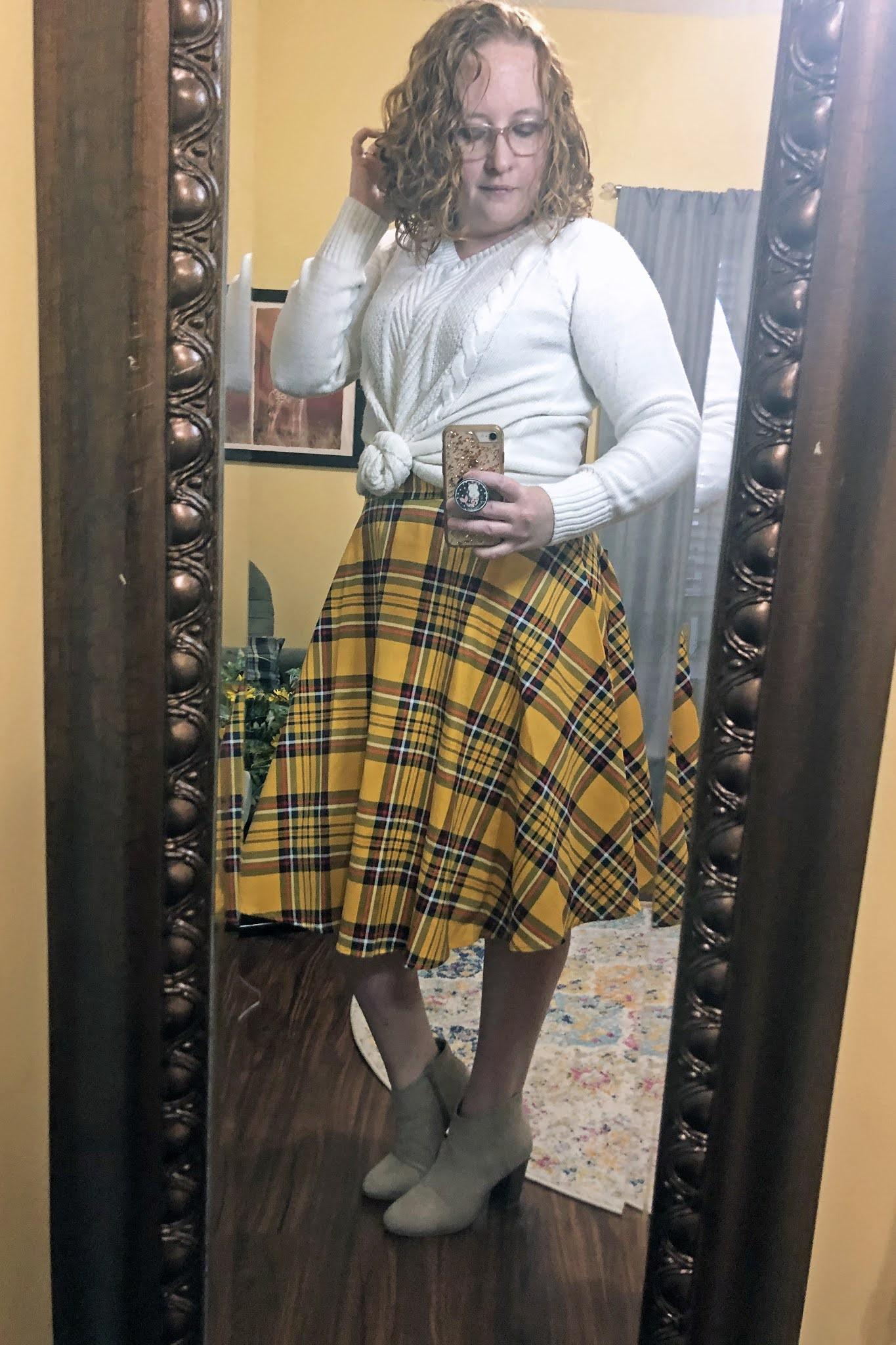 yellow plaid midi skirt