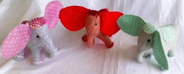 Elefantes de Feltro em 3D