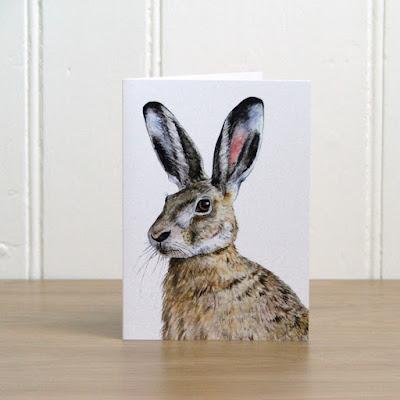 Watercolour hare greetings card