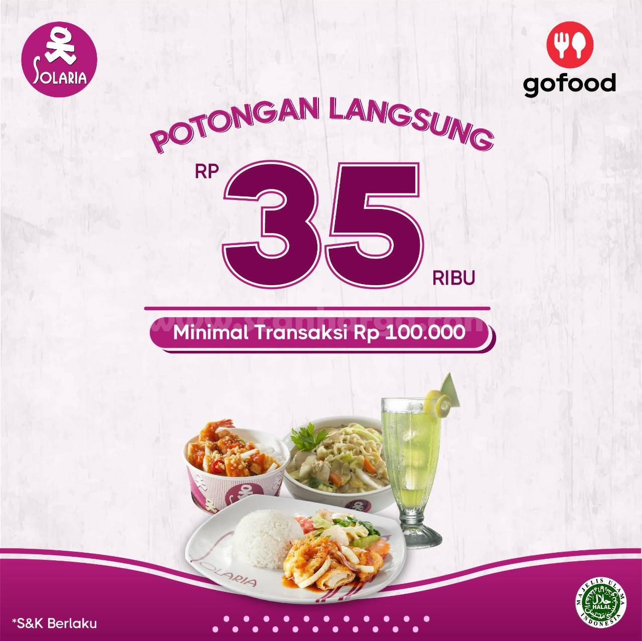 Promo Solaria Diskon Rp 35.000 Khusus pemesanan via Gofood