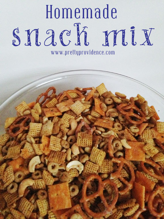 Homemade snack mix, with measurements and multiple flavoring options!