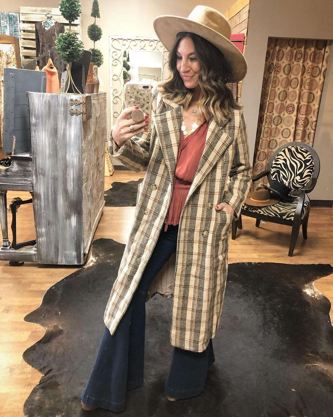 Plaid coat with hat