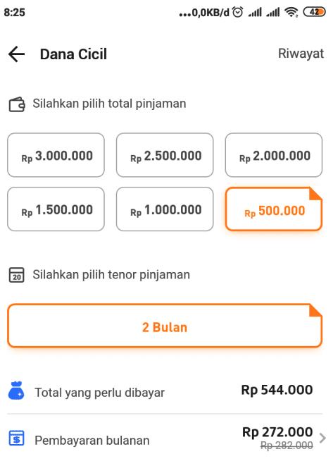 Pilih total pinjaman