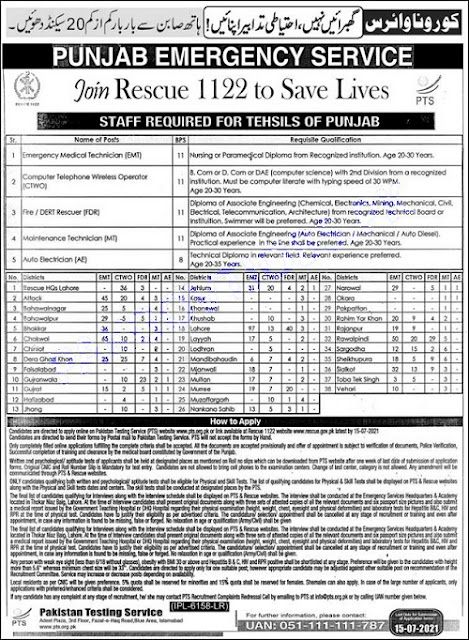 Punjab Emergency Service has announced the latest 1122 Punjab Rescue Jobs 2021