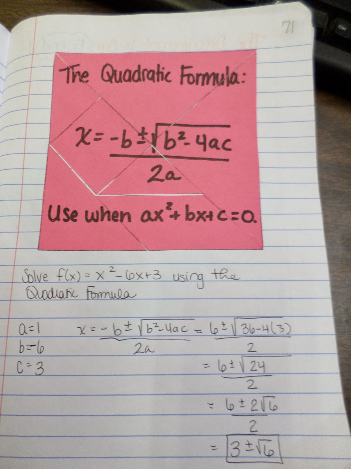 Math Love Quadratic Formula Interactive Notebook Page