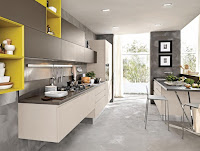 Industrial kitchen furniture idea with gray countertop and soft brown cabinet inspirations