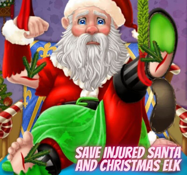 Save Injured Santa And Christmas Elk - Free Play dressing Game