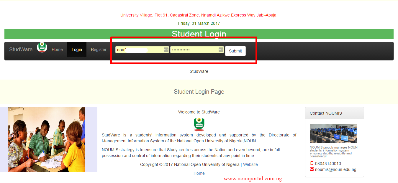How To Login Into The Noun Student Portal