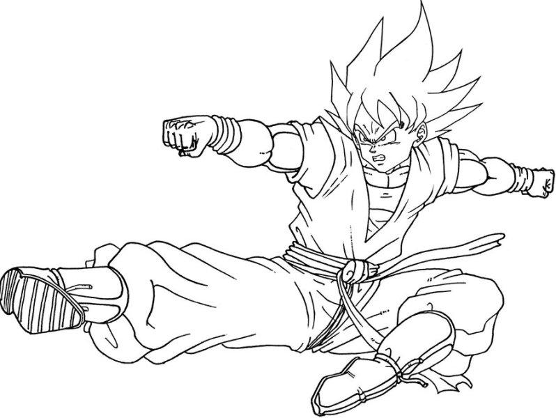 Mewarnai gambar son goku tokoh utama dalam anime jepang - Dessin de sangoku ...