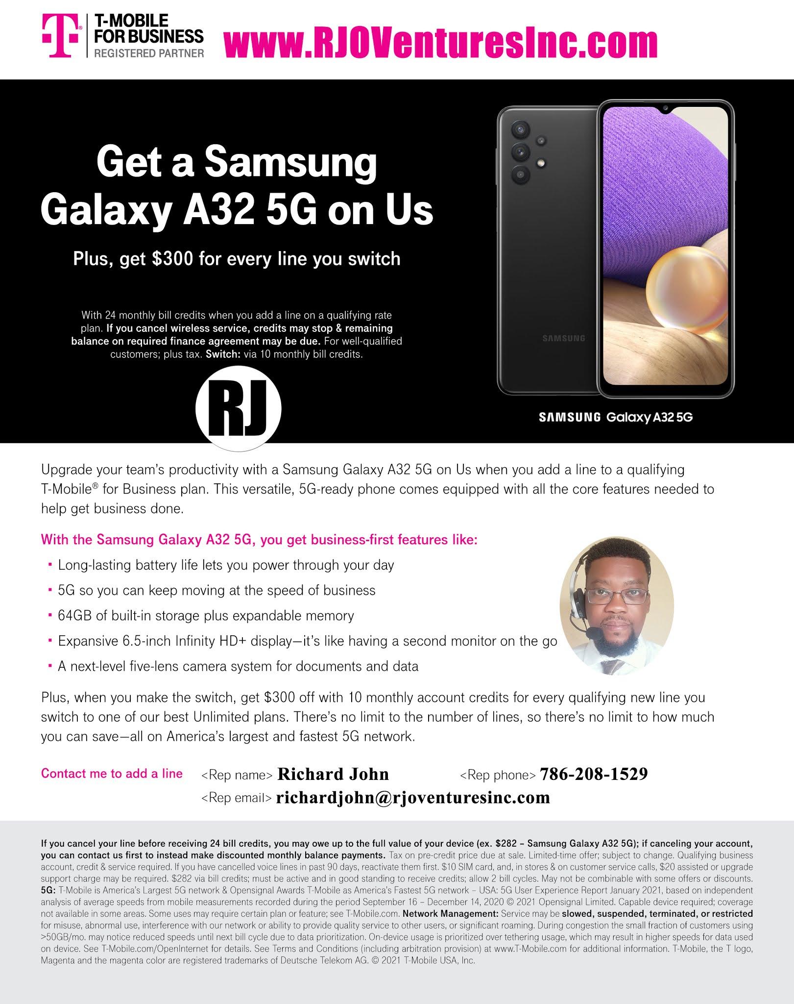T-Mobile for Business: Get a Samsung Galaxy A32 5G [RJOVenturesInc.com]