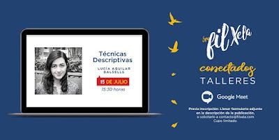 Afiche promocional del taller de Lucía Aguilar Balsells para la FILXela Conectados