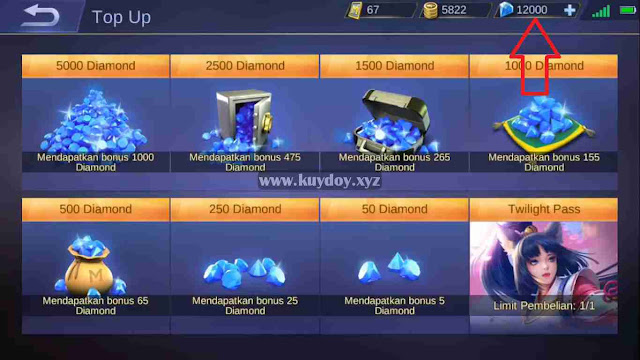 Script VVIP 12.000 Diamond Mobile Legends Gratis Work 100%