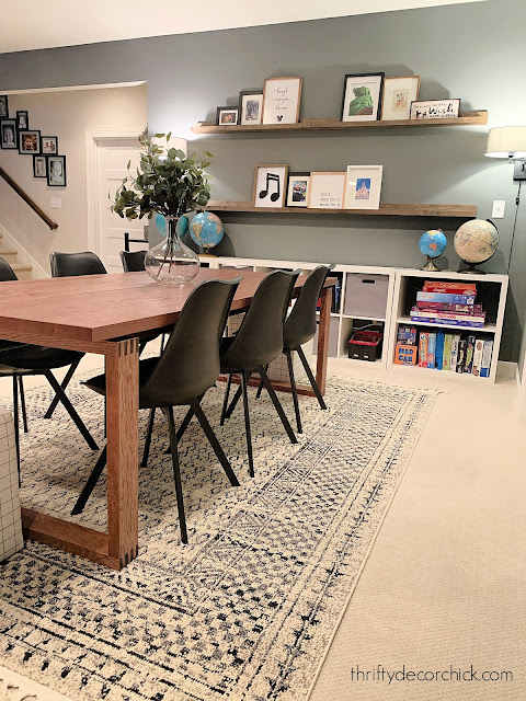 game room table in basement