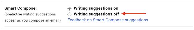 """في قسم """"الكتابة الذكية"""" ، اختر """"إيقاف كتابة الاقتراحات"""" لتعطيل الميزة."""