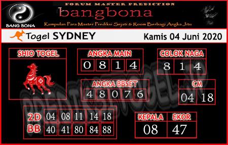 Prediksi Sydney Kamis 04 Juni 2020 - Bang Bona