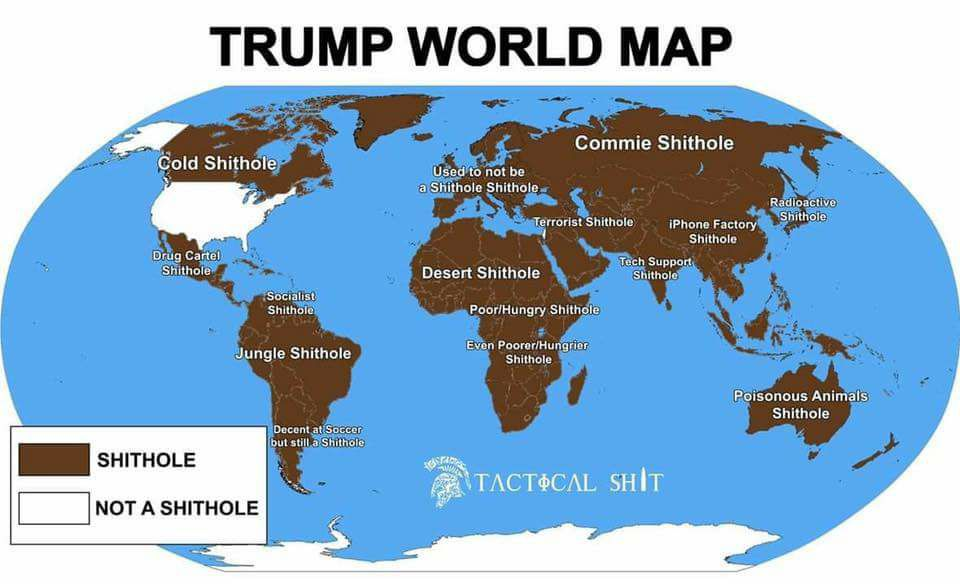 The Freedom Fighter S Journal Trump Shithole Countries World Map