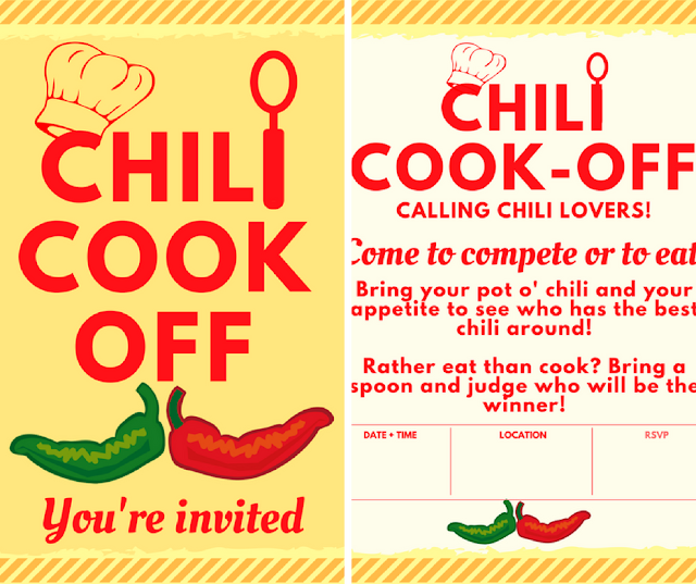 Need an easy party idea? Host a chili cook-off! Check out these free, printables - invite, scorecard, award certificate, and crock pot tags #food #chili #chilicookoff  #spicy #ccokoff #partyideas #ideas #party