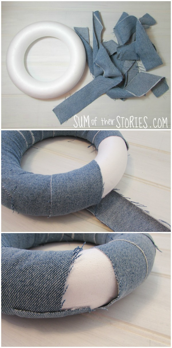 Spring wreath with upcycled jeans
