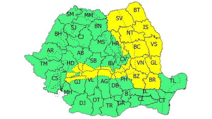 Cod galben de vânt puternic și ninsori în județul Suceava, mai ales la munte