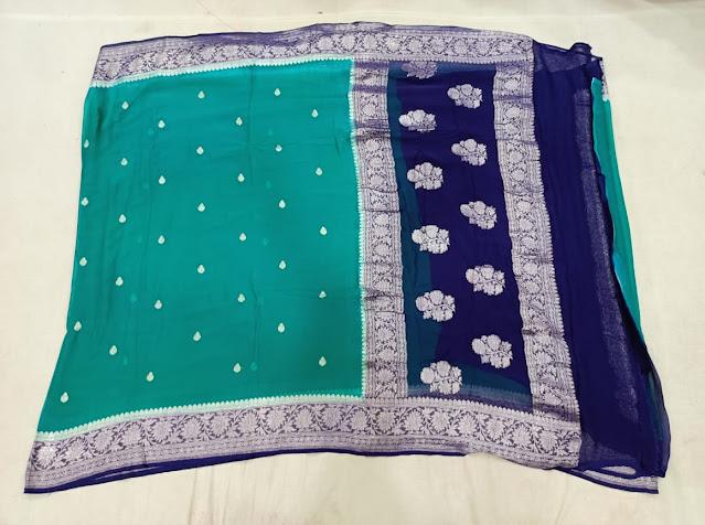 Pure Georgette Chiffon setet colour botel green body and blue border sarees