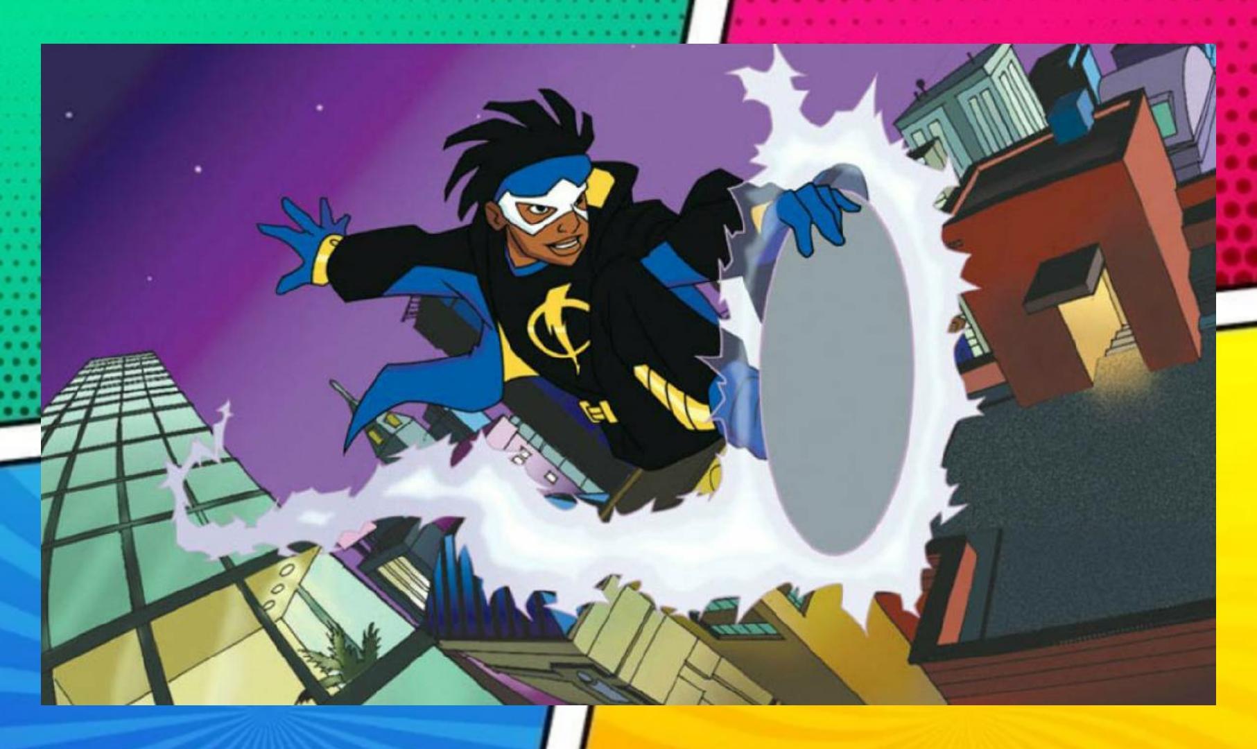 A imagem tem uma borda colorida, e no centro uma cena do desenho Cuper-Choque, onde o super-herói sobrevoa a cidade usando sua prancha eletromagnética.