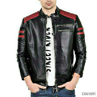 Faux Leather Solid/Color Block Mens Jackets