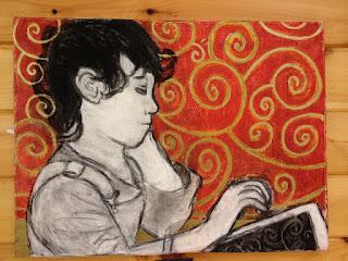 Nate Merrill, bored reading boy, art
