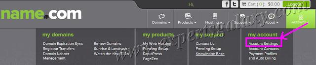 Name.com Account Settings