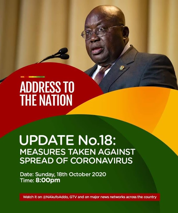 Full Speech: Akufo-Addo's 18th address to the nation on measures to fight Covid-19