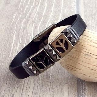 Kit bracelet cuir homme Peace noir et Gun métal