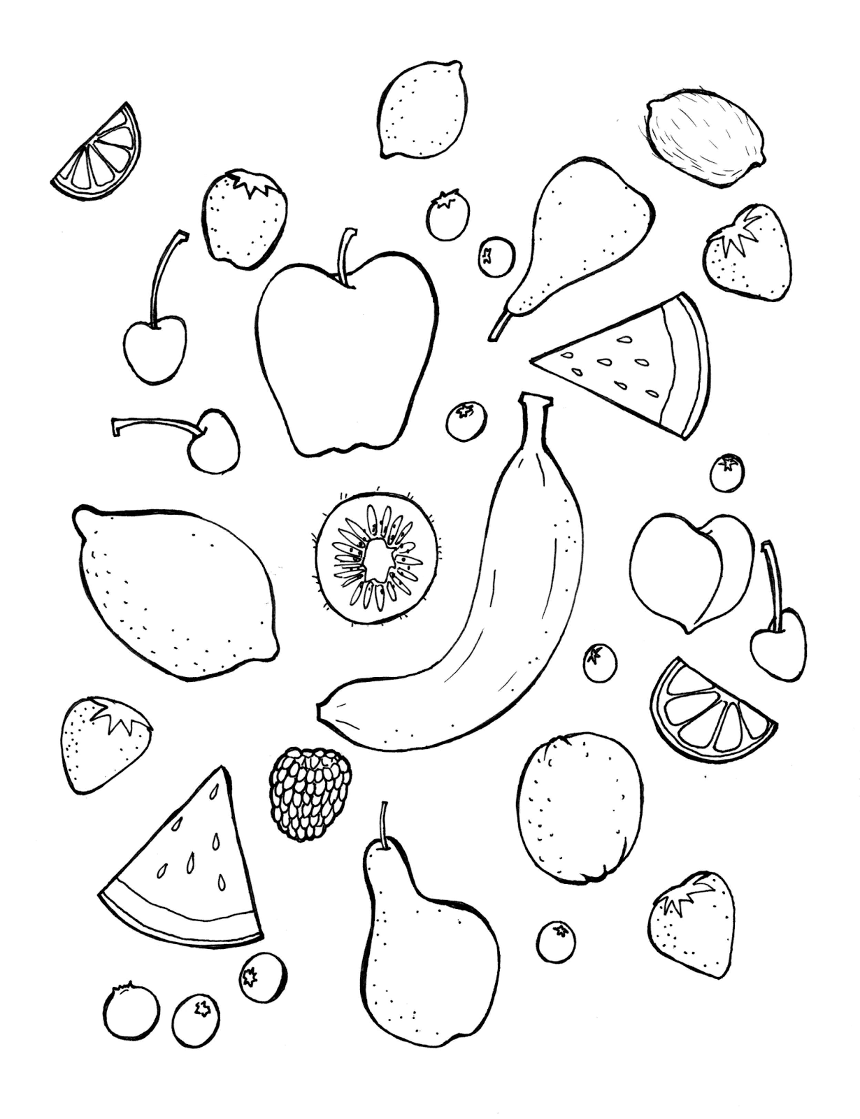 Coloring Page: Fruit!