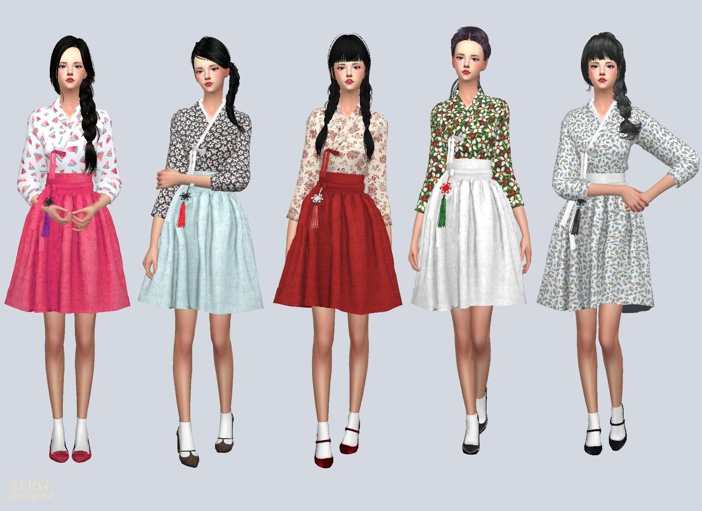 Casual Hanbok 생활 한복 여자 의상 Sims4 Marigold