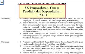 Download Contoh SK Pengangkatan Guru PAUD / TK / KB / TPA