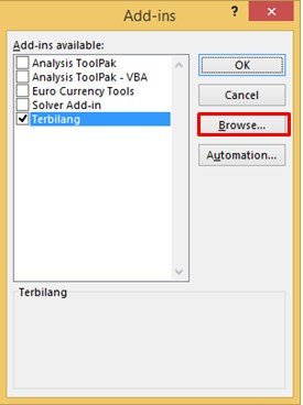 Instal Add Ins Terbilang di Excel