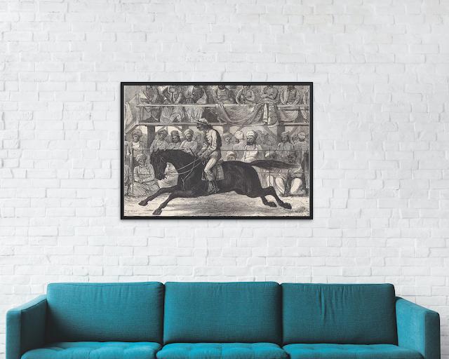 antique horse racing in India print