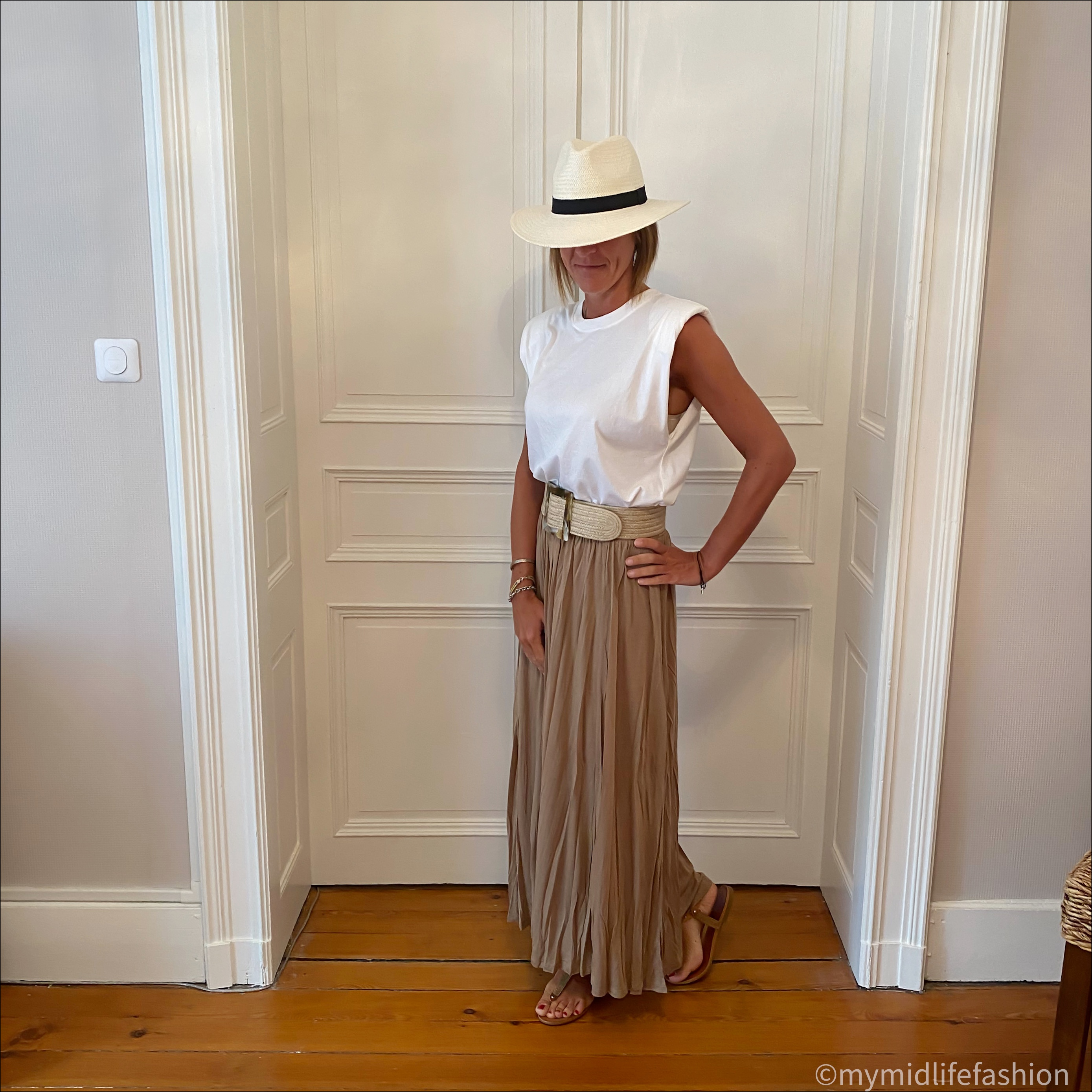 my midlife fashion, zara Panama hat, zara t-shirt with pads, zara woven belt, h and ma lyocell skirt, Carvela leather thong sandals