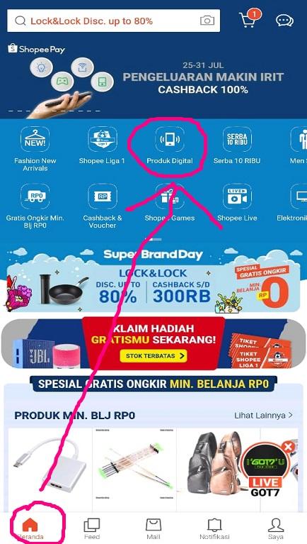 Menu Produk Digital Pada Beranda Aplikasi Shopee di Smartphone.