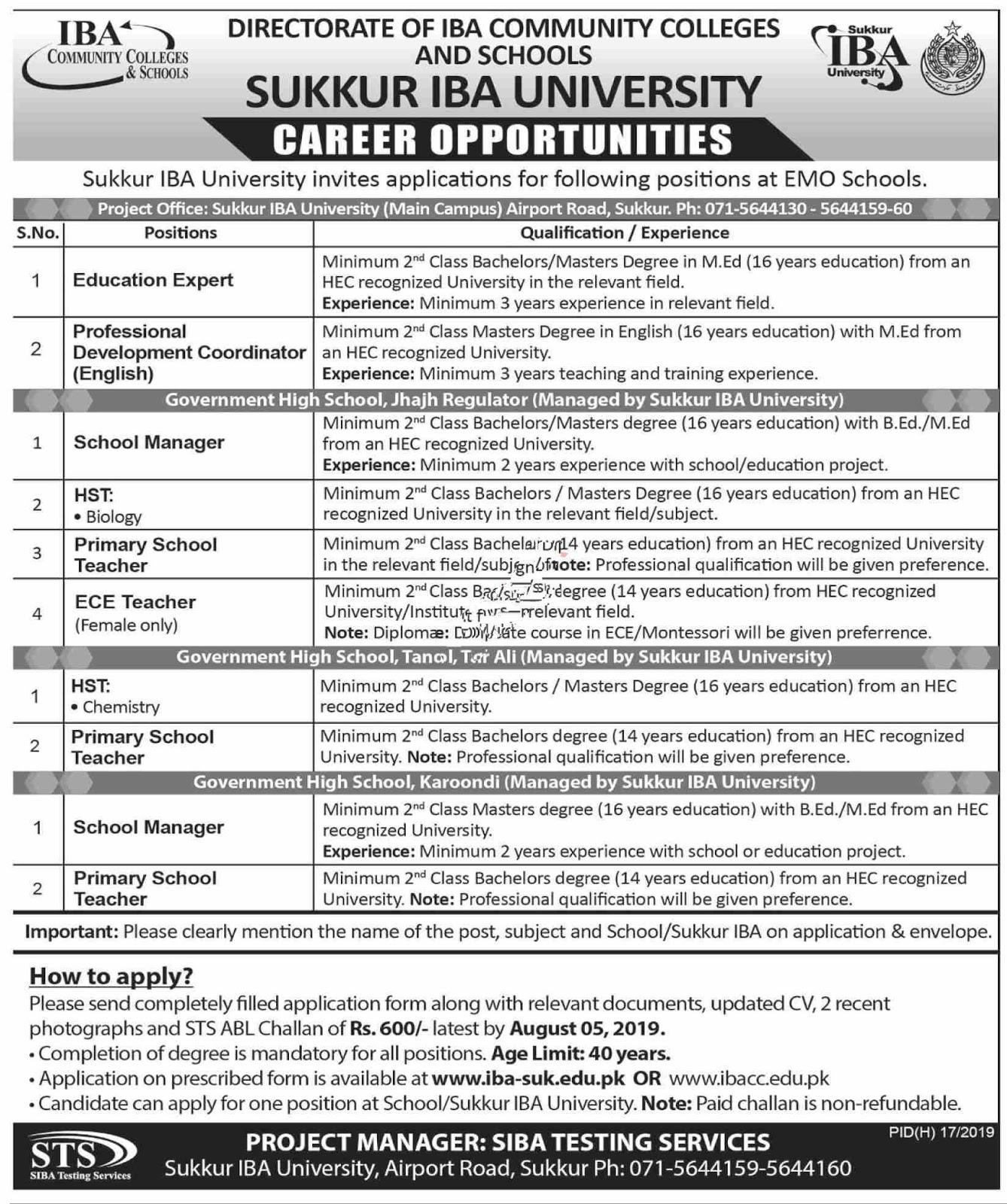 Sukkur IBA University Jobs 2019  Latest