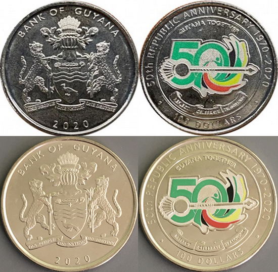 Guyana 100 dollars 2020 - 50 Years of the Republic