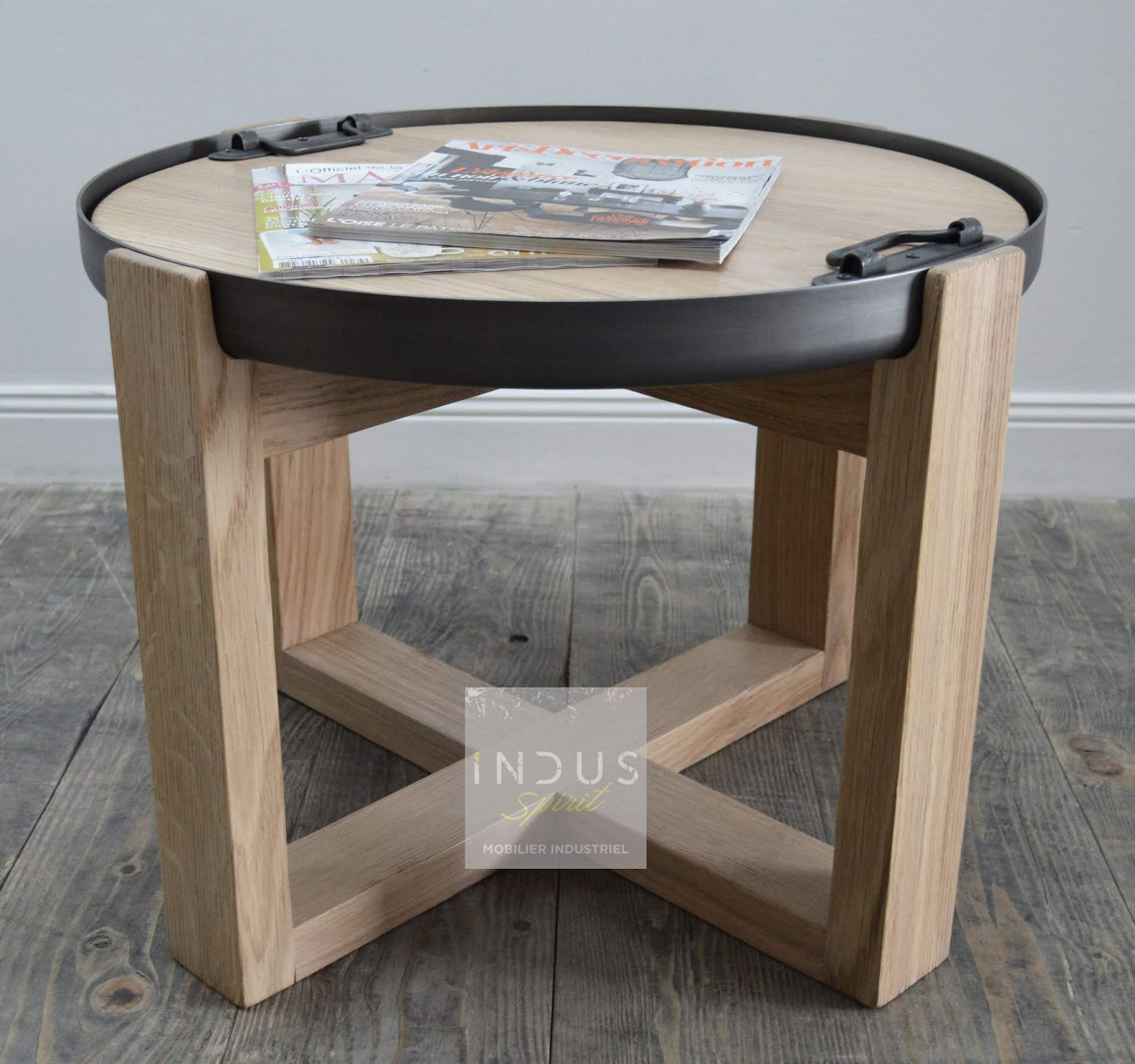 Table basse ronde style industriel scandinave Table basse ronde scandinave