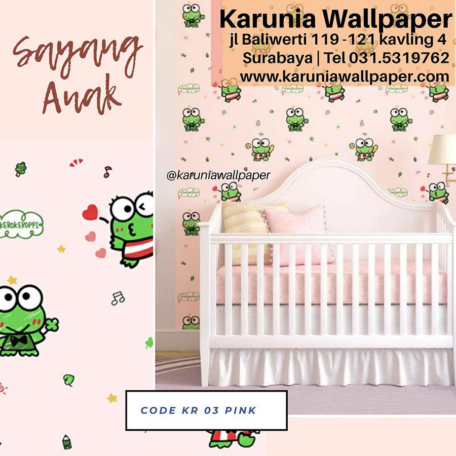 wallpaper dinding kamar anak sanrio kero keroppi